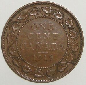 1919 CANADA ONE 1 CENT GEORGE V LARGE PENNY COIN