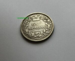QUEEN VICTORIA STERLING SILVER SHILLING 1868 NICE COIN GREAT BRITAIN UK DIE 1
