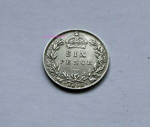1893 QUEEN VICTORIA SILVER SIXPENCE 6D BRITISH ENGLISH 92.5  SILVER