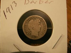 NICE 1913 BARBER DIME 106YRS OLD      90  SILVER