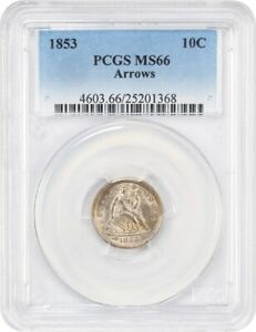 Click now to see the BUY IT NOW Price! 1853 10C PCGS MS66  ARROWS  GREAT TYPE COIN   LIBERTY SEATED DIME