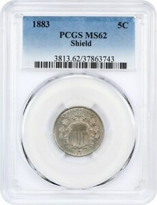 1883 SHIELD 5C PCGS MS62   GREAT TYPE COIN   SHIELD NICKEL   GREAT TYPE COIN