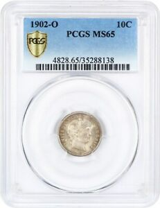Click now to see the BUY IT NOW Price! 1902 O 10C PCGS MS65   LOVELY AND ORIGINAL   BARBER DIME   LOVELY AND ORIGINAL