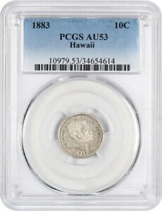 Click now to see the BUY IT NOW Price! 1883 HAWAII 10C PCGS AU53   POPULAR TERRITORIAL ISSUE