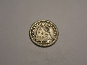 1848 O SEATED LIBERTY HALF DIME  FINE R & ATTRACTIVE