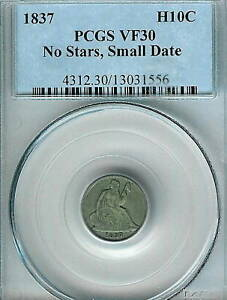 1837 NO STARS SMALL DATE SEATED HALF DIME : PCGS VF30