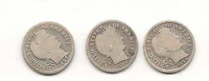 LOT OF 3 BARBER DIMES : 1897 1898 1899