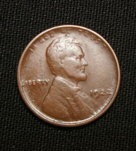 1922 NO D STRONG REVERSE DENVER MINT  LINCOLN WHEAT CENT