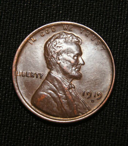 1919 D LINCOLN WHEAT CENT SOLID GEM