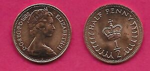 GREAT BRITAIN HALF PENNY 1982 UNC HALF PENNY ABOVE CROWN AND FRACTION 1/2 ELIZAB
