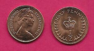 GREAT BRITAIN HALF PENNY 1983 UNC HALF PENNY ABOVE CROWN AND FRACTION 1/2 ELIZAB
