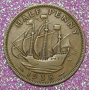 1 COIN FROM GREAT BRITAIN.  1/2 PENNY.  1938.  SAILING SHIP.