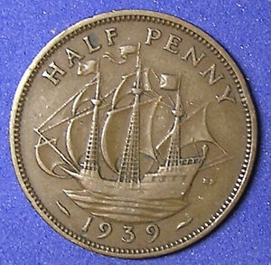1 COIN FROM GREAT BRITAIN.  1/2 PENNY.  1939.  SAILING SHIP.