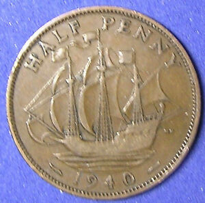 1 COIN FROM GREAT BRITAIN.  1/2 PENNY.  1940.  SAILING SHIP.