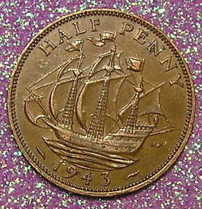 1 COIN FROM GREAT BRITAIN.  1/2 PENNY.  1943.  SAILING SHIP.