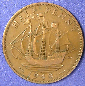 1 COIN FROM GREAT BRITAIN.  1/2 PENNY.  1948.  SAILING SHIP.