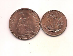 1962  GREAT BRITAIN PENNY & HALF PENNY  LOADS OF MINT RED