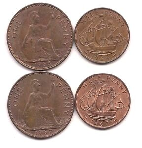 1966 1967  GREAT BRITAIN PENNIES & HALF PENNIES  LOADS OF MINT RED
