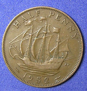 1 COIN FROM GREAT BRITAIN.  1/2 PENNY.  1952.  SAILING SHIP.