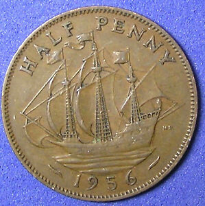 1 COIN FROM GREAT BRITAIN.  1/2 PENNY.  1956.  SAILING SHIP.