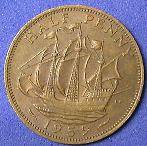 1 COIN FROM GREAT BRITAIN.  1/2 PENNY.  1959.  SAILING SHIP.
