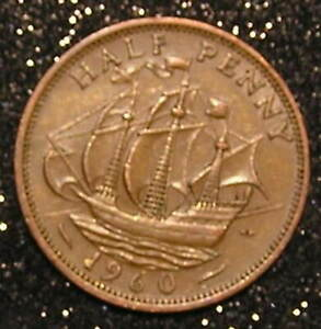 1 COIN FROM GREAT BRITAIN.  1/2 PENNY.  1960.  SAILING SHIP.
