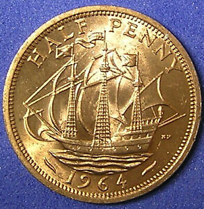 1 COIN FROM GREAT BRITAIN.  1/2 PENNY.  1964.  SAILING SHIP.  AU