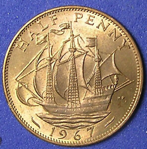 1 COIN FROM GREAT BRITAIN.  1/2 PENNY.  1967.  SAILING SHIP. AU
