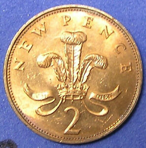 1 COIN FROM GREAT BRITAIN.  2 PENCE.  1967.