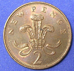 1 COIN FROM GREAT BRITAIN.  2 PENCE.  1975.