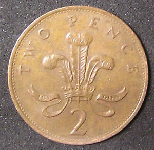 1 COIN FROM GREAT BRITAIN.  2 PENCE.  1986.