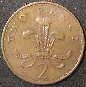 1 COIN FROM GREAT BRITAIN.  2 PENCE.  1987.