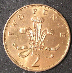 1 COIN FROM GREAT BRITAIN.  2 PENCE.  1989.