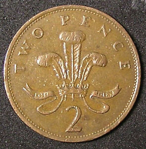 1 COIN FROM GREAT BRITAIN.  2 PENCE.  1991.