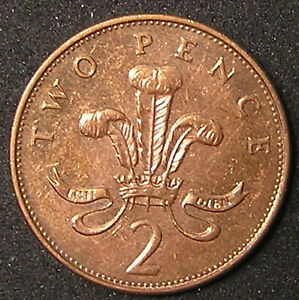 1 COIN FROM GREAT BRITAIN.  2 PENCE.  1992.