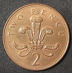 1 COIN FROM GREAT BRITAIN.  2 PENCE.  1996.