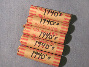 MIXED ROLLS OF 1940'S SMALL CENTS / PHILLY DENVER & SAN FRANCISCO POSSIBLE.