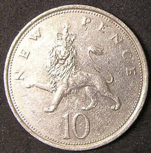 1 COIN FROM GREAT BRITAIN.  10 PENCE.  1975.