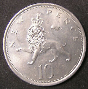 1 COIN FROM GREAT BRITAIN.  10 PENCE.  1976.