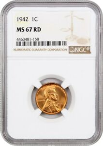 1942 1C NGC MS67 RD   LINCOLN CENT