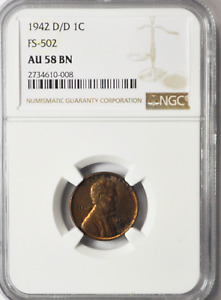 1942 D/D 1C LINCOLN WHEAT ONE CENT PENNY FS 502 AU58 BN
