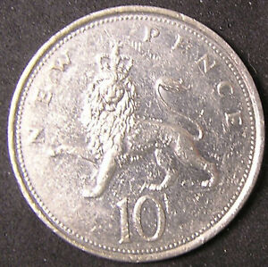 1 COIN FROM GREAT BRITAIN.  10 PENCE.  1977.