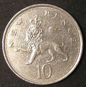 1 COIN FROM GREAT BRITAIN.  10 PENCE.  1980.