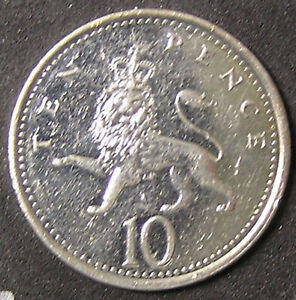 1 COIN FROM GREAT BRITAIN.  10 PENCE.  2001.