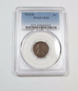 1914 D LINCOLN/WHEAT EARS REVERSE CENT CERTIFIED PCGS VF 30 1C