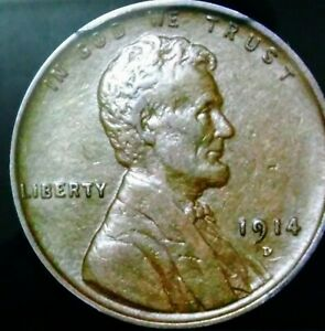 1914 D LINCOLN WHEAT PENNY CENT US COPPER COIN.  AND IN GREAT SHAPE