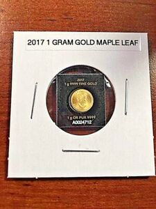 2017 1 GRAM GOLD MAPLE LEAF ROYAL CANADIAN MINT   TINY COIN UNGRADED