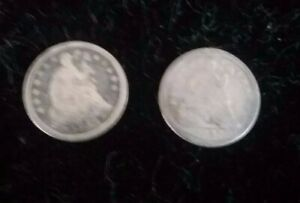 1853 ARROWS & 1857 STARS OBVERSE SILVER HALF DIMES PAIR OF COLLECTOR COINS