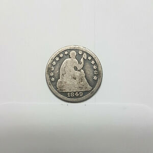 1849 SEATED LIBERTY HALF DIME. CIRCULATED.   180