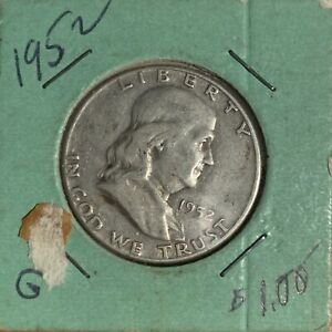1952 FRANKLIN HALF DOLLAR 90  SILVER US COIN